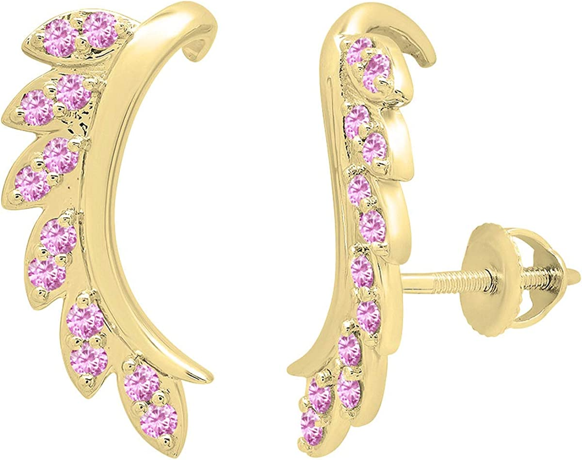 Dazzlingrock Collection 14K Round Gemstone Ladies Leaf Shaped Climber Earrings, Yellow Gold
