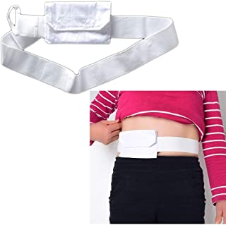Feeding Tube Belt G Tubes Catheter Holder Peritoneal Dialysis Gastrostomy Peg Tube Supplies Cover Bag Drainage Abdominal Fixation Medical Nursing Belt For Patients (White)