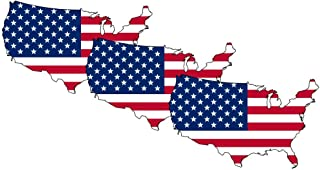 American Flag Sticker USA MAP Decal (3 Pack), US Flag Decal, Auto Decal Bumper Stickers for Cars/Truck Boats/MacBook/Laptops etc. by A-B Traders