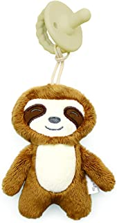 Itzy Ritzy Pacifier & Lovey Set; Detachable Plush Sloth & Coordinating Toast Silicone Pacifier; Ideal for Ages 0 Months & Up, Sloth