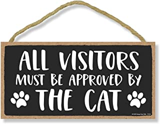 Honey Dew Gifts, All Visitors Must Be Approved by The Cat, Funny Wooden Home Decor for Cat Pet Lovers, Hanging Decorative ...