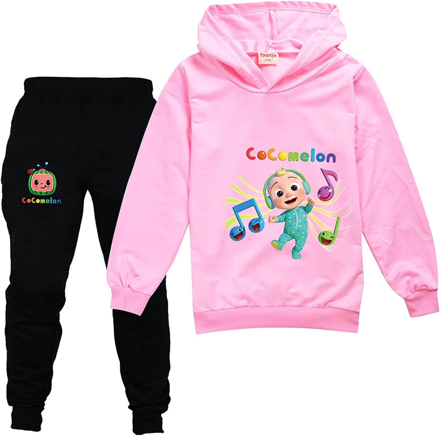 Coco-Melon Youth Pullover Hoodies and Sweatpants Set Kids Clothes 2-Piece Sweatshirt Set for Boys and Girls