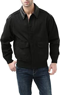 Mens's Air Force A-2 Windbreaker Bomber Jacket with Leather Trim