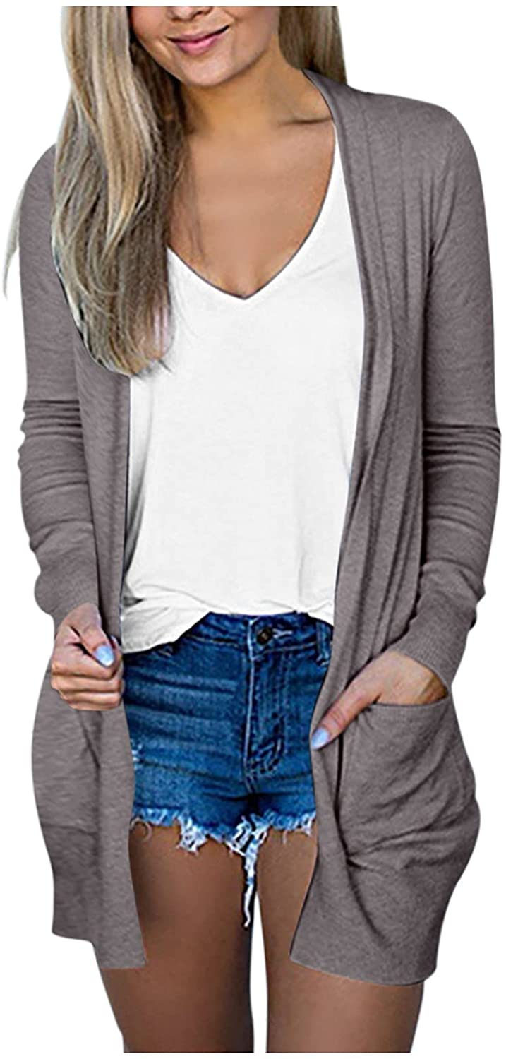 Changeshopping Tops for Women Winter,Autumn Solid Color V-Neck Cardigan Long Sleeve Coat Pockets Outerwear