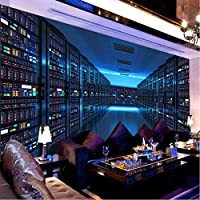 Clhhsy カスタム写真の壁紙3Dステレオスコピックブルーテクノロジー展示会ボードの背景大きな壁画オフィス研究室の装飾の壁紙-350X250Cm