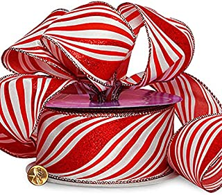Red Striped Wired Christmas Ribbon - 2 1/2
