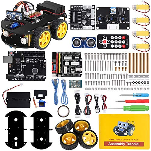 ELEGOO UNO R3 Project Smart Robot Car Kit V 3.0 Plus with UNO R3, Line Tracking Module, Ultrasonic...
