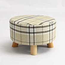 HYLX Praktische kruk Moderne Eenvoud Ronde Pad Bank 4 Benen Frame Gewatteerde Seat Afneembare Stof Decoratieve Tafel En Ge...
