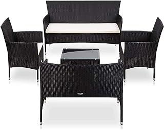 vidaXL Set Muebles de Jardín y Cojines 5 Piezas Exterior Conjunto Casa Patio Aire Libre Terraza Sofá Mesa Tablero Comedor Ratán Sintético Negro