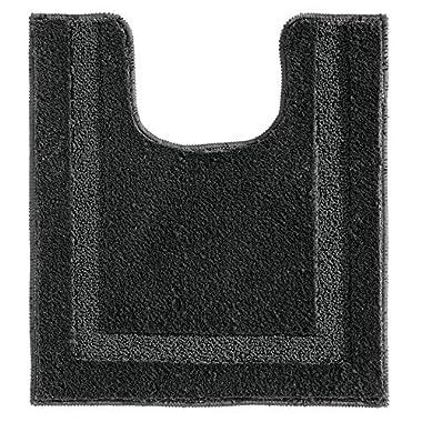 InterDesign Microfiber Polyester Contour Bathroom Rug Spa, Black