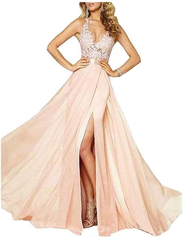 Emmani Women's Spaghetti VNeck Side Split Backless Long Prom Dresses