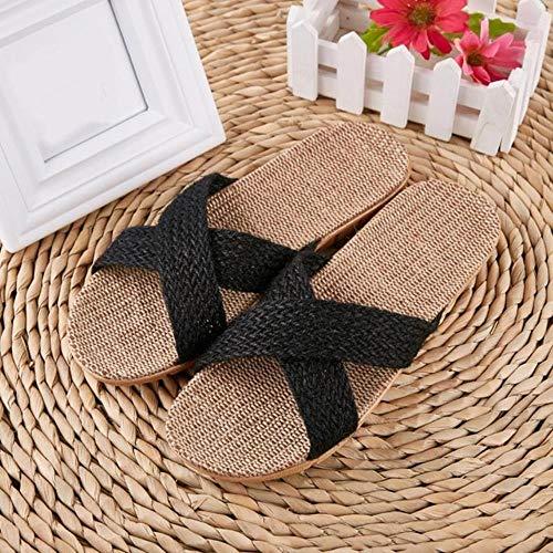 KADIS Zapatillas de Playa de Verano para Mujer Chanclas de Lino cómodas Diapositivas de cáñamo Antideslizantes para Mujer Zapatos Casuales caseros Cruzados para Mujer Sandalias, I, 11