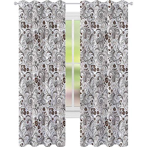 jinguizi Cortina opaca para ventana de chocolate, diseño floral clásico, 52 x 63 cm, para decoración de niños, cortinas personalizadas