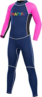 fec6142cbf5 NATYFLY Neoprene Wetsuits for Kids Boys Girls Back Zipper One Piece  Swimsuit UV Protection-Brand