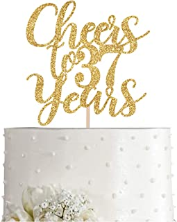 Gold Glitter Cheers to 37 years cake topper, Gold Happy 37th Birthday Cake Topper, Birthday Party Decorations, Supplies