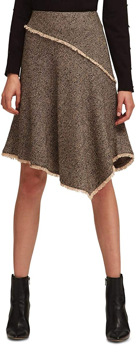 DKNY Womens Wool Blend Fringe Asymmetrical Skirt Brown