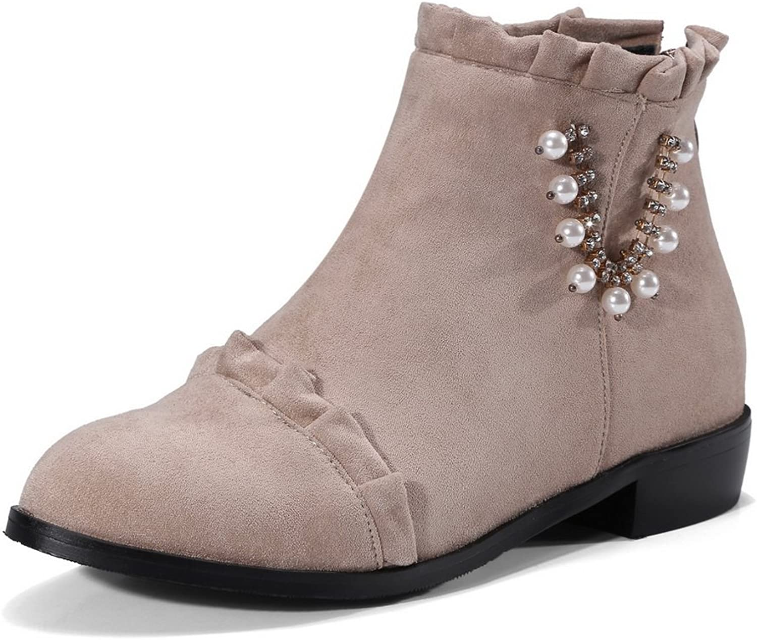 BalaMasa Womens Ankle-High Jewels Ruched Chunky Heels Suede Boots ABL10676