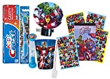 Marvel'Avengers' 6pc All Inclusive Boys Bathroom Collection! Toothbrush, Toothpaste, Brushing Timer, Rinse Cup, Night Light & Reward Stickers! Plus Bonus'Remember to Brush' Visual Aid!