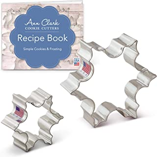 Ann Clark Cookie Cutters 2-Piece Christmas Snowflake Cookie Cutter Set with Recipe Booklet, 2.5