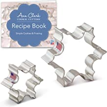 """Ann Clark Cookie Cutters 2 Piece Christmas Snowflake Cookie Cutter Set with Recipe Booklet, 2.5"""""""