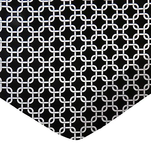 %41 OFF! SheetWorld Fitted 100% Cotton Percale Pack N Play Sheet Fits Graco Square Play Yard 36 x 36, Black Links, Made in USA