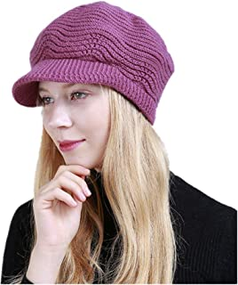 Hat Fashion Daily Slouchy Hats Berets Womens Winter Knitting Wool Warm Hat Fashion Accessories (Color : Rose red)