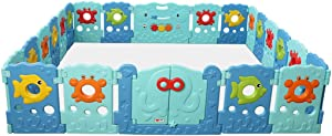 SXXDERTY-playard Foldable Baby Playards Indoor Safety Gates  Kids  Ball Pits Marine theme Playards Fence Large Indoor Outdoor Plastic Play Pen
