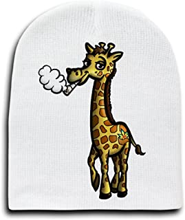 Pot Smoking Pals Giraffe - White Adult Beanie Skull Cap Hat