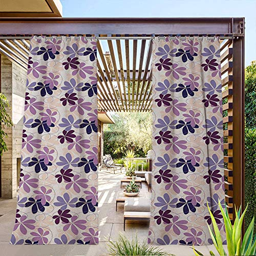 FOEYESEE Porch Curtains Outdoor Retro Blooming Petals with Abstract Swirls and Curves Romantic Composition Purple Lilac Peach Summer Heat Insulating 72x84 Inch