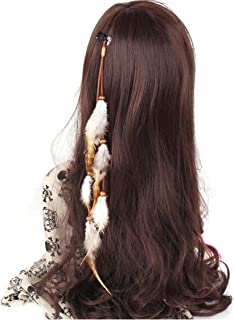 Handmade Boho Hippie Hair Extensions with Feather Clip Comb Hairpin Headdress DIY Accessories for Women Lady