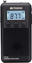 Retekess TR103 Mini FM MW Radio with Shortwave Digital Tuning Radio Support TF Card with Rechargeable Battery LCD Display with Backlight (Black)