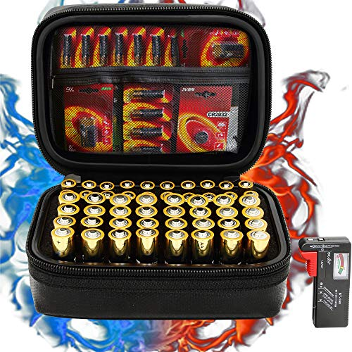 Surdarx 60+ Batteries Fireproof Battery Organizer Storage Box Carrying Case Bag Holder Container, Holds AA AAA C D 9V 3V with Battery Tester BT-168 (Not Includes Batterie)
