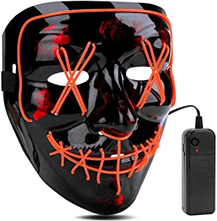 atimier Halloween Mask LED Light up Mask for Festival Cosplay Halloween Costume(Orange Light)
