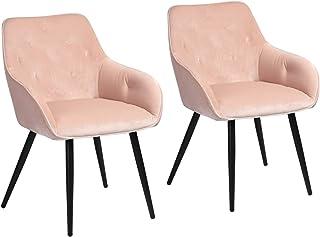 Juego de 2 sillas de Comedor escandinavas de Terciopelo Rosa con reposabrazos – 56 x 59 x 75 cm