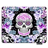 Nicokee Skull Gaming Mousepad Flower Sugar Skull Design Mouse Pad Rectangle Mouse Mat for Computer Desk Laptop Office 9.5 X 7.9 Inch Non-Slip Rubber