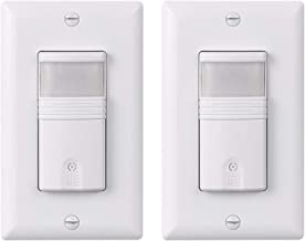 LIT-PaTH PIR Motion Sensor Light Switch Wall Switch for Indoor Use – Vacancy & Occupancy Modes, NEUTRAL Wire Required, 3 Way, UL and Title 24 Rated, 2-Pack (White)