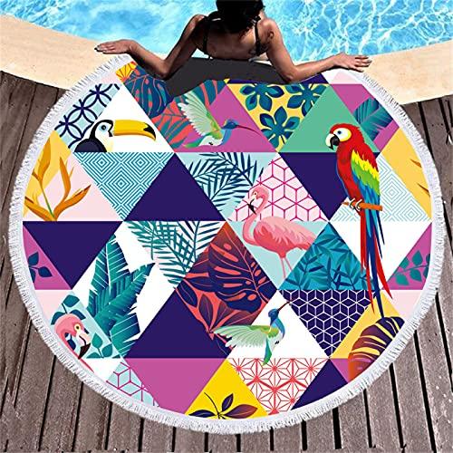 Toalla De Playa Redonda con Patrón De Impresión Digital, Toalla De Baño con Mantón De Microfibra, Alfombra De Playa Absorbente De Agua De Secado Rápido A Prueba De Arena 150 * 150cm