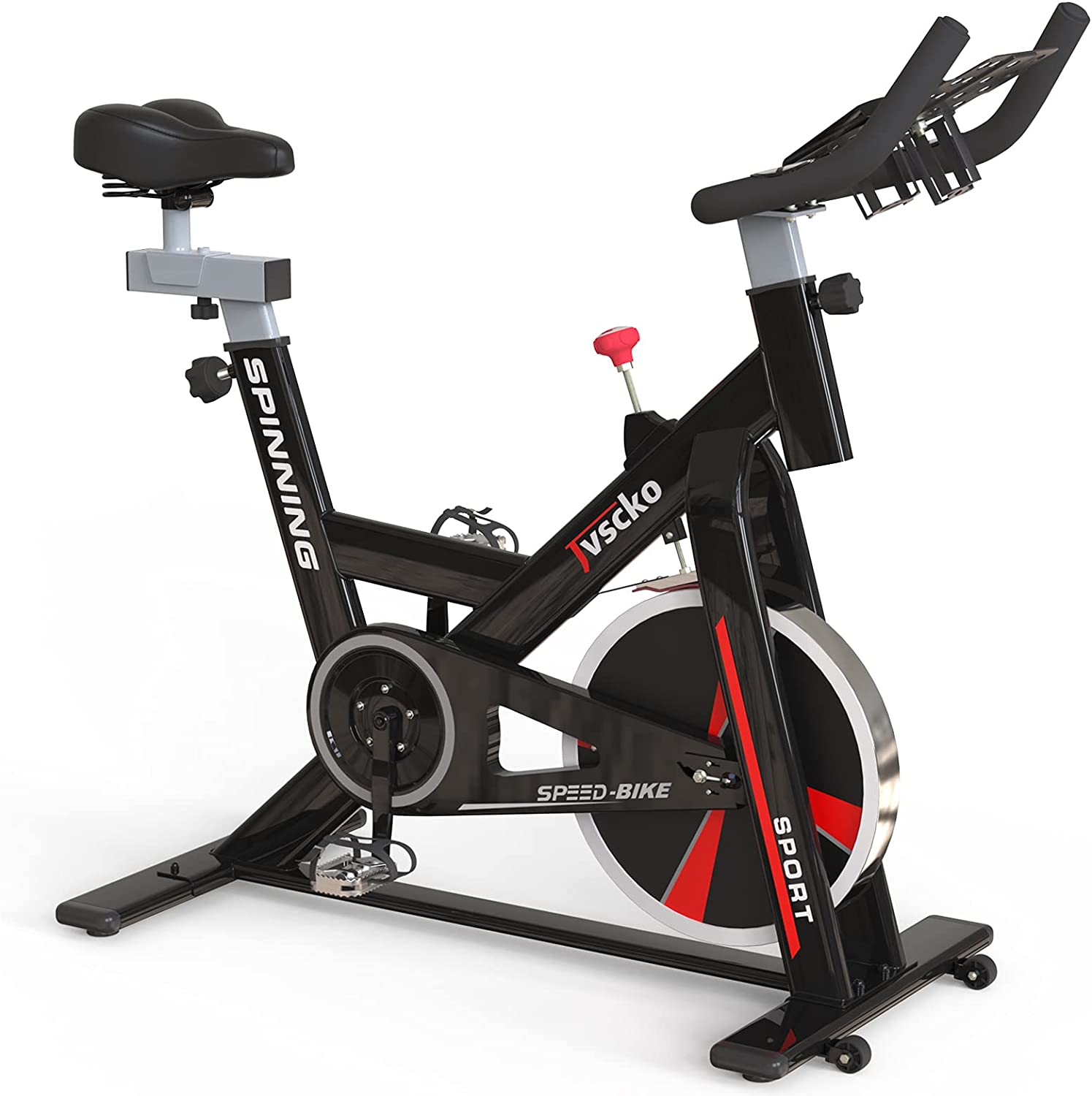Exercise Bike Stationary Indoor Fitness Bike 440lbs Weight Capacity for Home Gym with Silent Belt Drive, Ipad Holder,Lcd Display