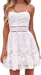 TANGSen Women Summer Floral Flower Button Dress Ladies Sexy Strappy Ruffles Backless White Patchwork Lace Dres