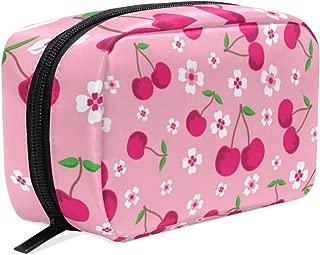 MAHU Flower Sakura Cherry Blossom, Makeup Bag Travel Cosmetic Bag Women Toiletry Brushes Pouch Storage Bag Zipper Organizer Square Portable Holder Tool Case