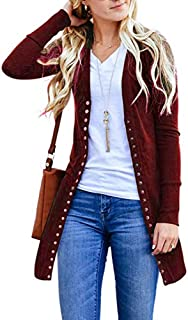 Open Front Button Down Cardigan Womens Sweater Long Sleeve Plus Loose Drape