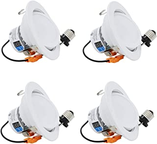 """ESD Tech 4 Pack 4"""" Inch LED Recessed Lighting Gimbal Trim – Dimmable Directional Retrofit Downlight Bulb Fixture, 3000K, 640 Lm, White, JA-8, Energy Star, UL Listed"""