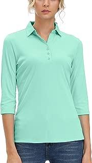 MOHEEN Women's 3/4 Sleeve V Neck Golf Shirts Moisture Wicking Performance Knit Tops Fitness Workout Sports Leisure T-Shirt
