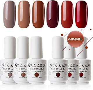 Gellen Gel Polish Set Caramel Colors Series - Popular Fall 6 Colors 8ml Each, Home Gel Manicure Kit