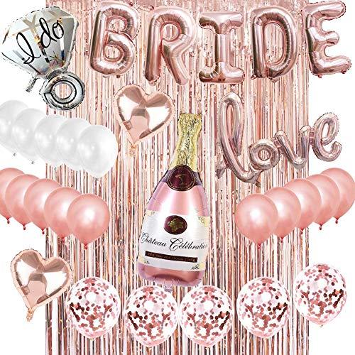 Bride Palloncini Banner Party in Oro Rosa,QSXX Bride Love Banner Palloncini Set,Sposa Palloncini Addio al Nubilato Sposa da Essere Decorazioni per Bachelorette Party Accessori,Palloncini in OroRosa