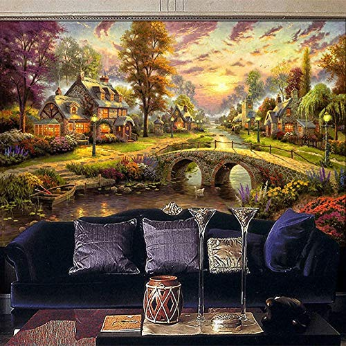 Msrahves Fotomural Vinilo de Pared Selva casa idílico paisaje grande Mural TV...