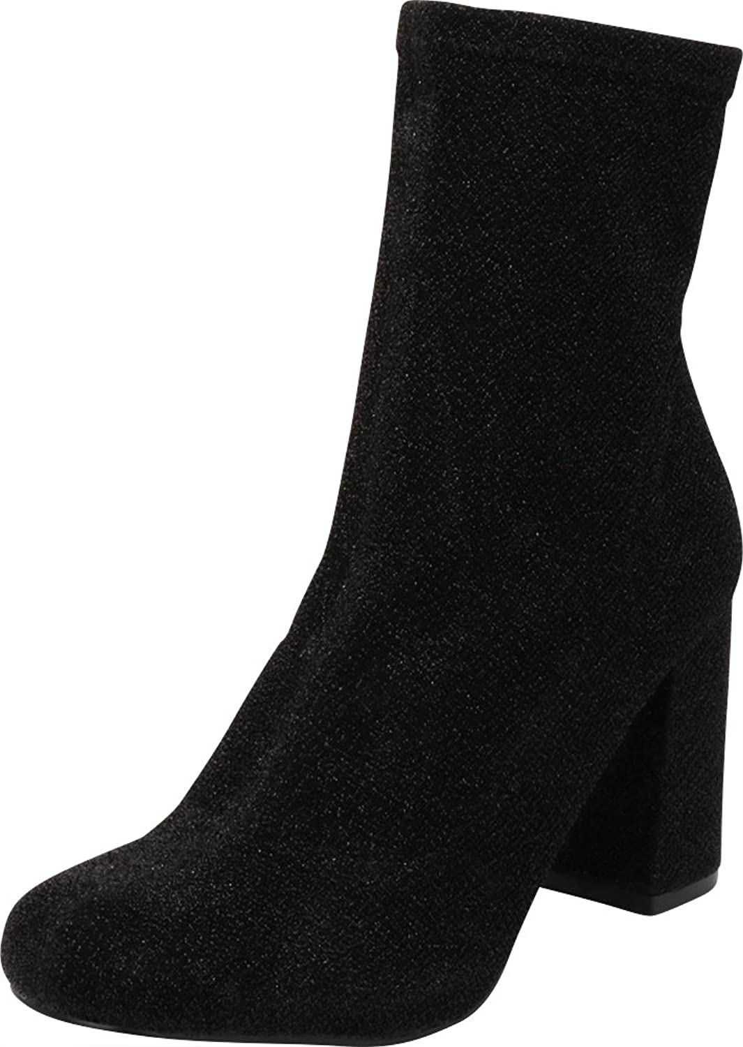 Cambridge Select Women's Closed Round Toe Stretch Fabric Sock Chunky Block Heel Ankle Bootie