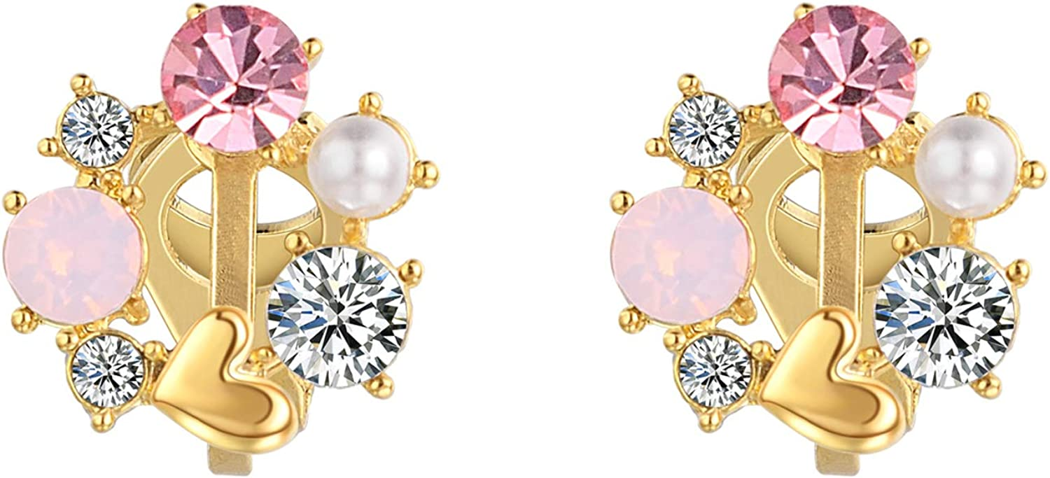 vogem Heart Stud Earrings for Women Rounded Clear CZ and Light Pink Crystal Circle Yellow Gold Tone Clip on for Women