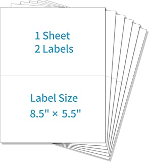 POLYSELLS Shipping Labels with Self Adhesive, 8.5 x 5.5 Inches, White, for Laser & Inkjet Printers 200 Labels
