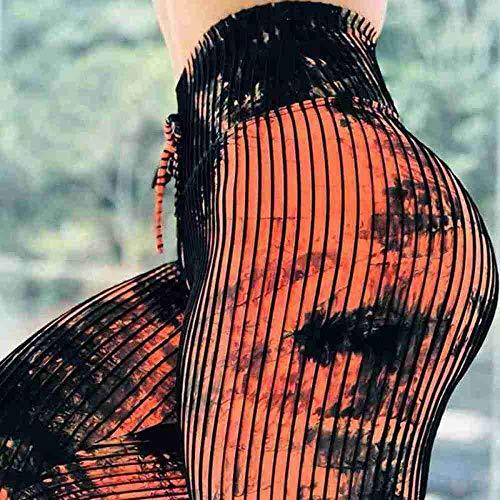 Yogabroek extra zachte legging met zakken voor dames,Dames yoga broek met naadloze print, super stretch legging-Orange_M,Blouse met V-hals